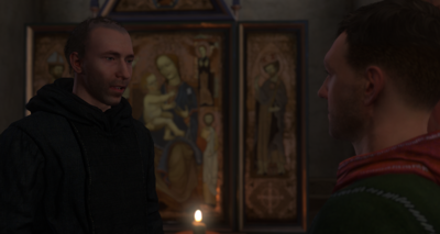 Speaking to Father Fabian