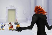 Axel trifft auf Sora, Donald und Goofy im Schloss des Entfallens ReCOM