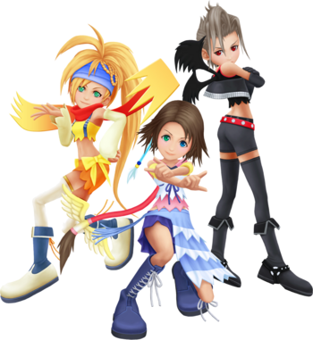 Yuna, Rikku und Paine die drei feenartigen Mädchen in Kingdom Hearts II