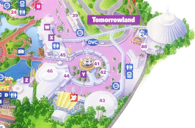 Walt Disney World Magic Kingdom Tomorrowland Map