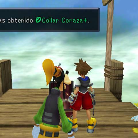 Sora obteniendo el Collar Coraza+ en la Casa del Árbol.