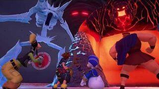 Kingdom Hearts III Expert Combat contre les Titans de Glace et de Lave