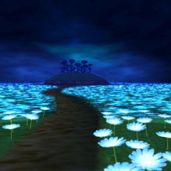 Camino en Bosque Lunar que te lleva al Bosque Dorado en la historia de <a href=