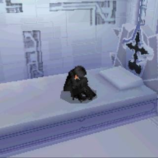 Xion sobre la cama de su habitación.