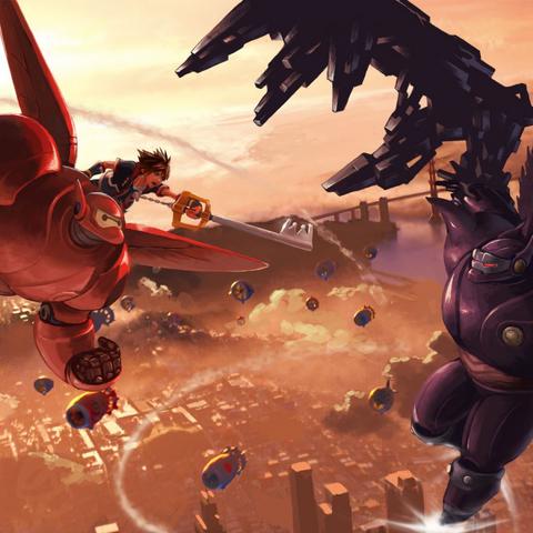 Baymax con su armadura junto a Sora luchando contra su parte oscura