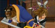 Sora luchando junto a Bestia