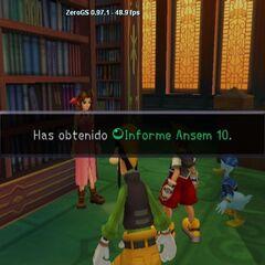 Sora obteniendo el décimo Informe Ansem.