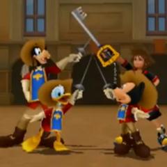 Sora junto a sus amigos, levantando sus armas.