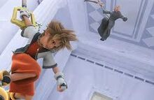 Sora vs merluxia en el opegin de kingdom hearts chain of memori