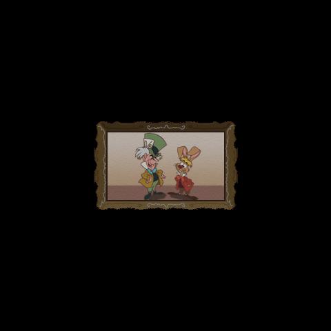 Sombrerero Loco y Liebre de Marzo en un cuadro que aparece en el jardín del té en <i>Kingdom Hearts</i>