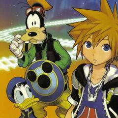 Sora, Donald y Goofy en el manga KH2
