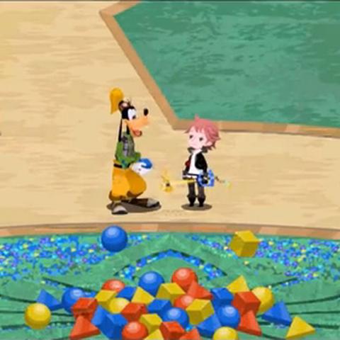 El jugador entregando varios bloques gumi a Goofy por primera vez