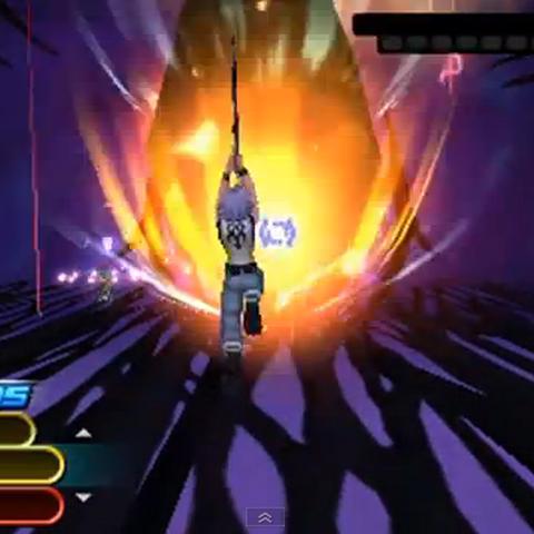 Riku usando Meteo en <i>Kingdom Hearts 3D: Dream Drop Distance</i>.