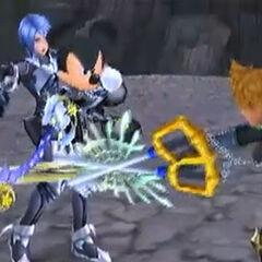 Venitas siendo detenido por el Rey Mickey para evitar que mate a Aqua.