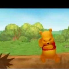Pooh pensando sobre un tronco