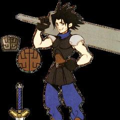Artwork de Zack y su espada.