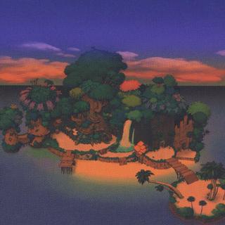 Artwork del atardecer en las Islas del Destino