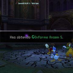 Sora obteniendo el quinto Informe Ansem.