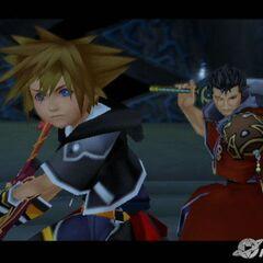 Auron acompañado de Sora en Kingdom Hearts II