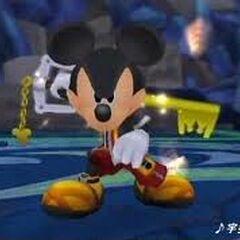 Rey Mickey empuñando su llave espada para combatir contra los 1000 Sincorazón