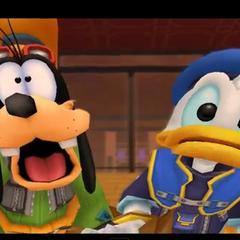 Donald y Goofy sorprendidos al ver al Rey