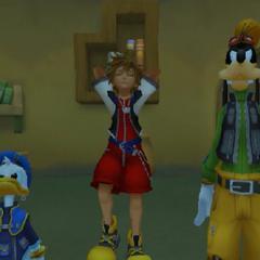 Donal, Sora y Goofy en la Torre Misteriosa