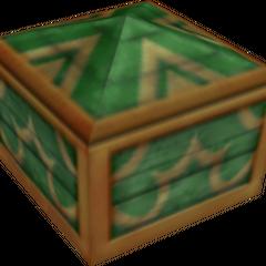 Un cofre verde que aparece en Bosque de los 100 Acres