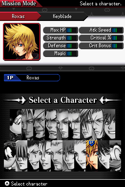 KH 358-2 Days full character Select Screen