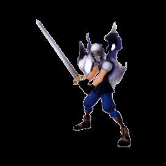 <b>Zack Fair</b> con su armadura y su espada, con una gran aura oscura
