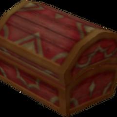 Un cofre rojo que aparece en Bosque de los 100 Acres