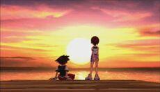 Sora y Kairi atardecer KH1