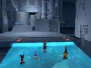 Sora, Donald, Goofy y Mickey entrando al Castillo Inexistente KHII