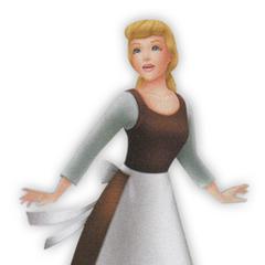 Cenicienta con sus ropas de sirvienta en <i>Kingdom Hearts Birth by Sleep</i>.