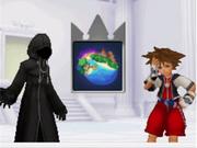 Data Roxas dándole el Naipe Mundo de las Islas del Destino a Data Sora (KHRe Coded)