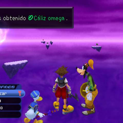 Sora consigue el Cáliz Omega en un cofre en Fin del Mundo.