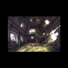 Interior de la casa del árbol.