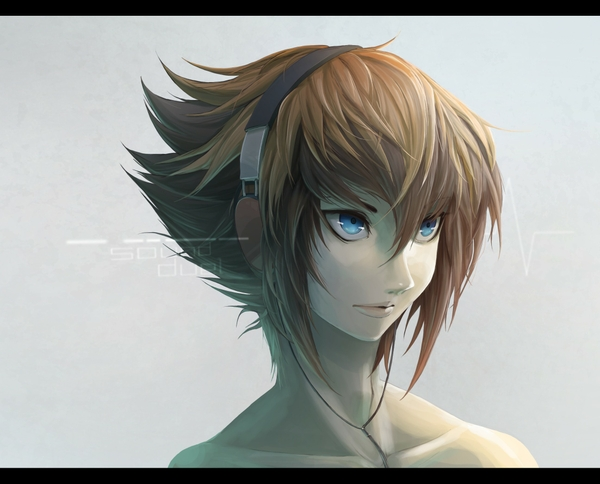 Image Headphones Blue Eyes Brown Short Hair Male Anime Girls
