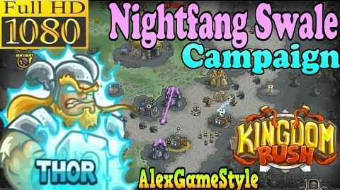 Kingdom Rush HD - Nightfang Swale Campaign (Level 21) Hero - Thor only 3 StarS