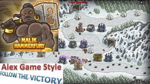 Kingdom Rush HD (Level 8 Icewind Pass) Campaign Hero - Malik Hammerfury only 3 StarS