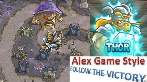 Kingdom Rush HD (BOSS Bonus Premium Level 24 Fungal Forest) Campaign Hero - Thor only 3 StarS