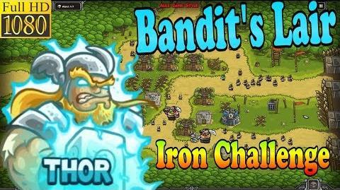 Kingdom Rush HD - Bandit's Lair Iron Challenge (Level 15) Hero - Thor