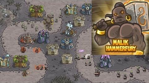 Kingdom Rush HD (Level 10 The Wastes) Campaign Hero - Malik Hammerfury only 3 StarS