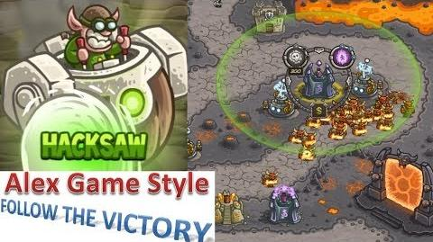 Kingdom Rush HD (Bonus Premium Level 25 Pit of Fire) Campaign Hero - Hacksaw only 3 StarS
