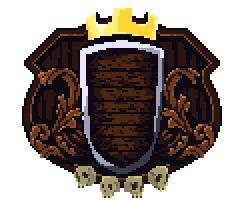 Escutcheon leaves skulls crown