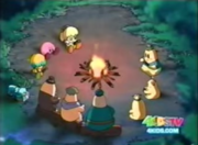 The group at a campfire