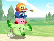 Waddle Dee Sombrilla, Waddle Doo y Kirby sobre Heat Phan Phan (Kirby GCN)