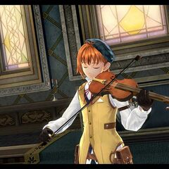 A screenshot of Elliot playing his violin
