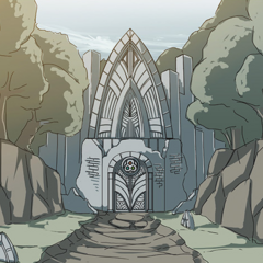 Concept art of spirit shrines <i><a href=