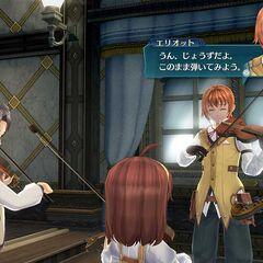 Elliot teaching children how to play violin