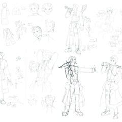 Concept art with the definitive versions on the bottom right